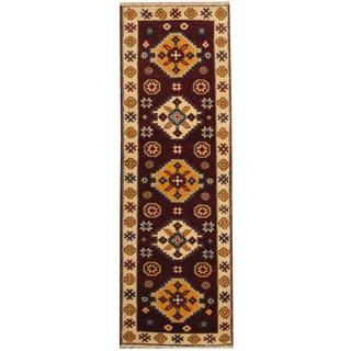 Herat Oriental Indo Hand-knotted Tribal Kazak Burgundy/ Ivory Wool Runner (2'2 x 6'6)