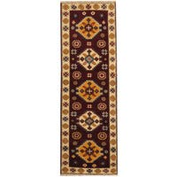 Handmade Herat Oriental Indo Tribal Kazak Wool Runner  - 2'2 x 6'6 (India)