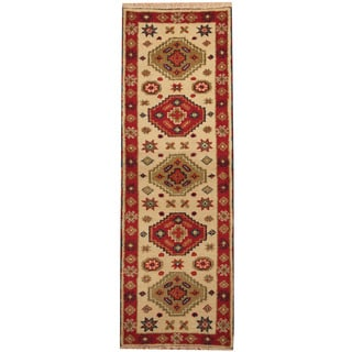 Herat Oriental Indo Hand-knotted Tribal Kazak Ivory/ Red Wool Runner (2'2 x 6'4)