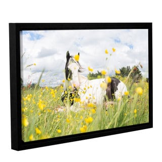 Andrew Lever's 'White and Black Horse' Gallery Wrapped Floater-framed Canvas
