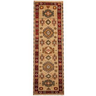 Herat Oriental Indo Hand-knotted Tribal Kazak Beige/ Red Wool Runner (2'2 x 6'7)