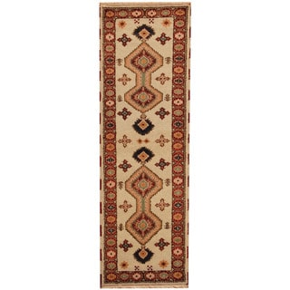 Herat Oriental Indo Hand-knotted Tribal Kazak Gray/ Red Wool Runner (2'2 x 6'7)