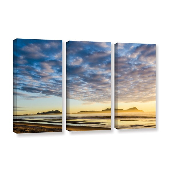 Andrew Lever's 'Sunrise At Lang's Beach' 3-piece Gallery Wrapped Canvas Set