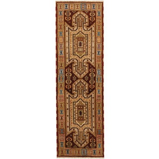 Herat Oriental Indo Hand-knotted Tribal Kazak Brown/ Ivory Wool Runner (2'1 x 6'7)