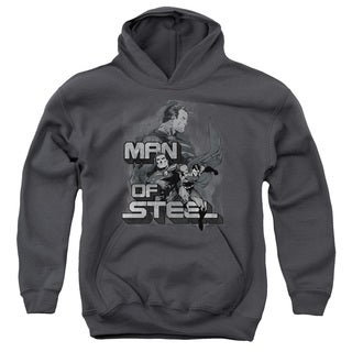 Superman/Steel Poses Youth Pull-Over Hoodie in Charcoal