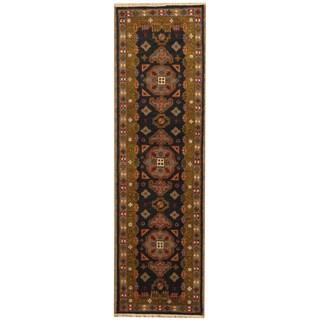 Herat Oriental Indo Hand-knotted Tribal Kazak Navy/ Green Wool Runner (2' x 6'8)