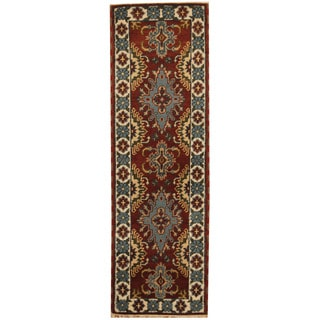 Herat Oriental Indo Hand-knotted Tribal Kazak Brown/ Ivory Wool Runner (2'1 x 6'8)