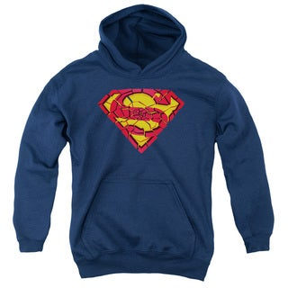 Superman/Shattered Shield Youth Pull-Over Hoodie in Navy