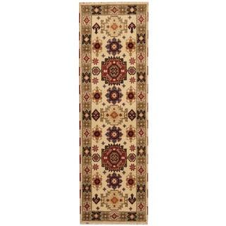 Herat Oriental Indo Hand-knotted Tribal Kazak Ivory/ Green Wool Runner (2'1 x 6'8)