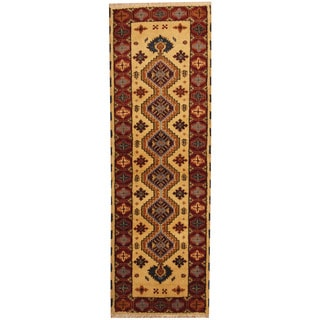 Herat Oriental Indo Hand-knotted Tribal Kazak Gold/ Red Wool Runner (2'1 x 6'6)