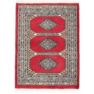 Herat Oriental Pakistani Hand-knotted Bokhara Red/ Gray Wool Rug (2'2 x 2'10)