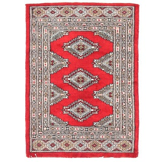 Herat Oriental Pakistani Hand-knotted Bokhara Red/ Ivory Wool Rug (2'1 x 2'11)