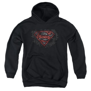 Superman/Brick S Youth Pull-Over Hoodie in Black