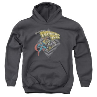 Superman/Zod Greetings Youth Pull-Over Hoodie in Charcoal