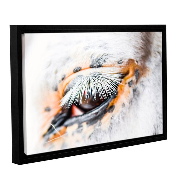 Andrew Lever's 'White Cat Lashes' Gallery Wrapped Floater-framed Canvas