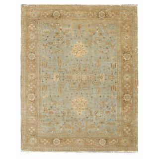 Turkish Oushak Light Blue/ Beige New Zealand Wool Rug (6' x 9')