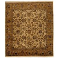 Exquisite Rugs Agra Ivory / Gold New Zealand Wool Rug (9' x 10') - 9' X 10'