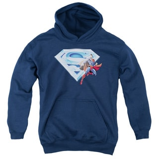 Superman/Superman & Crystal Logo Youth Pull-Over Hoodie in Navy