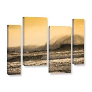 Andrew Lever's 'Waves against Yellow' 4-piece Gallery Wrapped Canvas Staggered Set