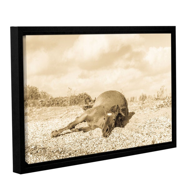 Andrew Lever's 'Horse Laying Down' Gallery Wrapped Floater-framed Canvas
