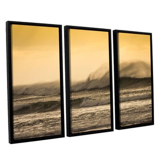 Andrew Lever's 'Waves against Yellow' 3-piece Floater Framed Canvas Set