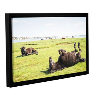 Andrew Lever's 'Rolling Horses' Gallery Wrapped Floater-framed Canvas