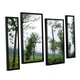 Andrew Lever's 'Forest Fog' 4-piece Floater Framed Canvas Staggered Set