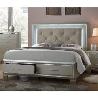 Silver Orchid Odette Glamour Queen Platform Storage Bed