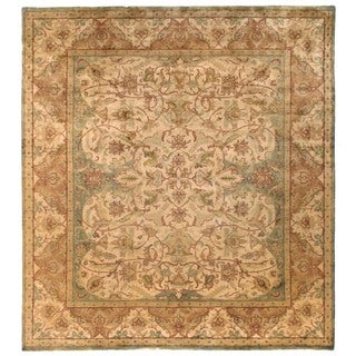 Exquisite Rugs European Polonaise Cream / Sage New Zealand Wool Runner Rug (3' x 25' Runner) - 3' x 25'