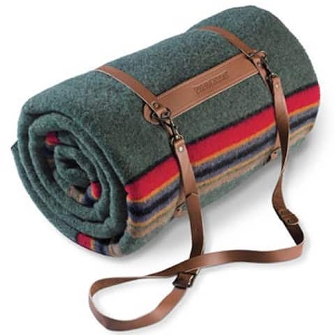 Pendleton Yakima Green Heather Twin Blanket with Leather Carrier