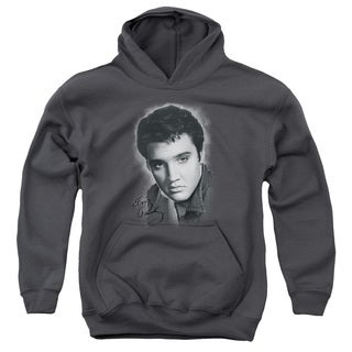 Elvis/Grey Portrait Youth Pull-Over Hoodie in Charcoal
