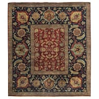 Exquisite Rugs Tabriz Red / Navy New Zealand Wool Rug (14' x 16')
