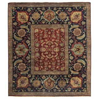 Tabriz Red/ Navy New Zealand Wool Rug (8' Round)