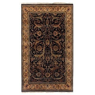 Exquisite Rugs Agra Black / Gold New Zealand Wool Runner Rug (2'6 x 12')