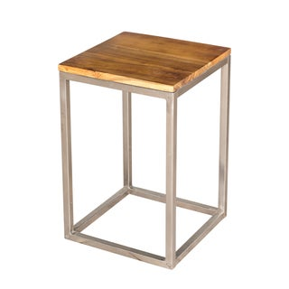 Teak and Steel Side Table (India)