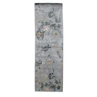Exquisite Rugs Milano Light Blue New Zealand Wool and Silk Runner Rug (2'6 x 8')