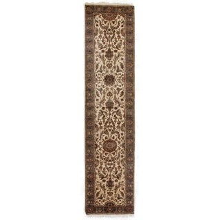 Moghul Ivory/ Blue-green New Zealand Wool Runner Rug (2'6 x 12')