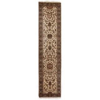 Exquisite Rugs Moghul Ivory / Blue-green New Zealand Wool Runner Rug (2'6 x 12' Runner) - 2'6 x 12'
