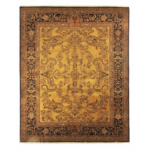 Exquisite Rugs Mohajeran Gold / Black New Zealand Wool Runner Rug - 3'3 x 20'4