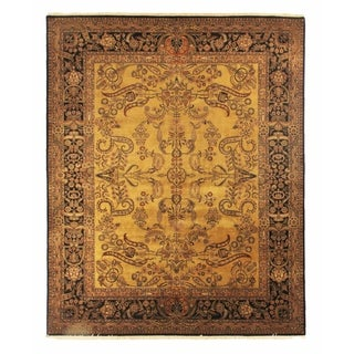 Mohajeran Gold/ Black New Zealand Wool Runner Rug (3'3 x 20'4)