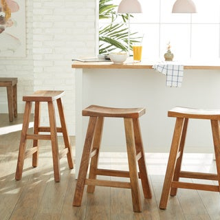 CG Sparks Handmade Mango Saddle Counter Stool (India)