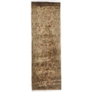 Exquisite Rugs Super Kashan Cream / Sage New Zealand Wool Runner Rug (2'6 x 8')