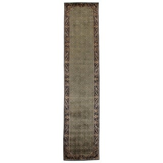 Exquisite Rugs Super Tibetan Green / Black Hand-spun New Zealand Wool and Silk Runner Rug (2'6 x 12' Runner) - 2'6 x 12'