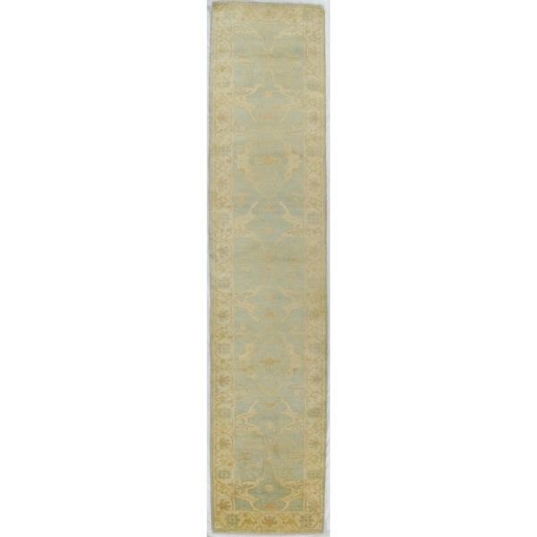 Exquisite Rugs Turkish Oushak Blue / Ivory New Zealand Wool Runner Rug (2'6 x 12'10 )