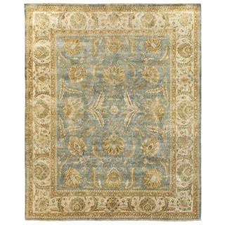 Turkish Oushak Light Blue/ Ivory New Zealand Wool Runner Rug (2'6 x 12')