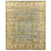 Exquisite Rugs Turkish Oushak Light Blue / Ivory New Zealand Wool Runner Rug - 2'6 x 12'