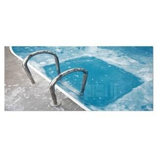 Designart 'Ice Swimming Blue Pool' Photography Metal Wall Art