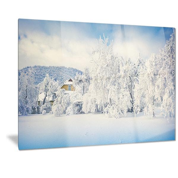 Metal Wall Art Mountain Landscapes : Designart white winter mountain landscape photo metal