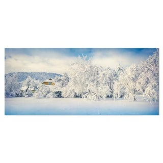 Designart 'White Winter Mountain Landscape' Photo Metal Wall Art