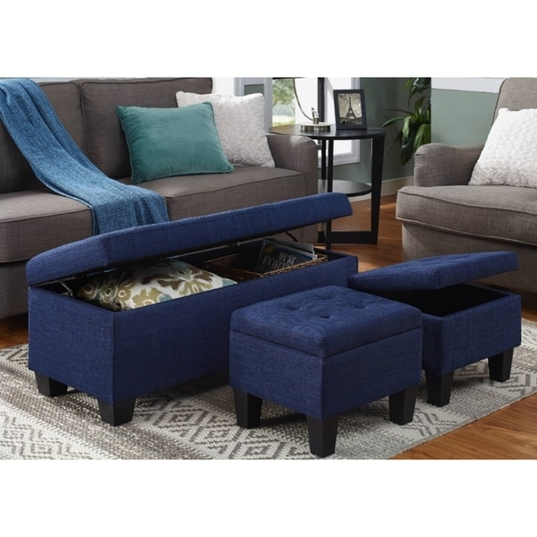 Clay Alder Home Harrison 3 Piece Storage Ottoman In Blue